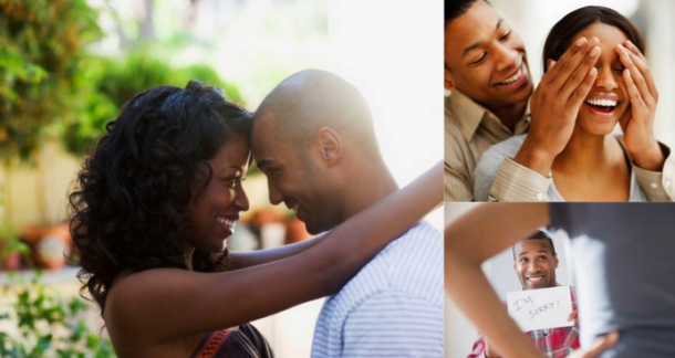 three images showing an african american couple cuddling, hugging, and surprising each other with love notes, showing the beauty of being vulnerable with someone