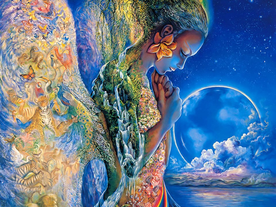 beautiful drawing of a woman being one with nature and her environment, feminine divine